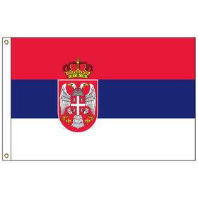 serbia w/ seal 3' x 5' outdoor nylon flag w/ heading & grommets