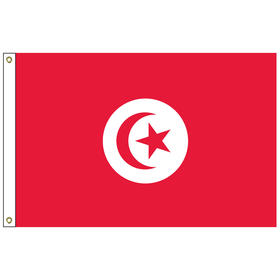 tunisia 3' x 5' outdoor nylon flag with heading and grommets