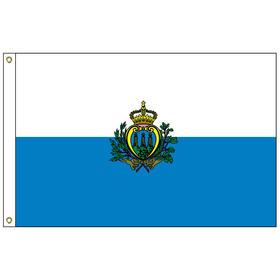 san marino with seal 5' x 8' outdoor nylon flag w/ heading & grommets
