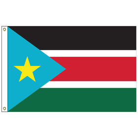 south sudan 5' x 8' outdoor nylon flag w/ heading & grommets
