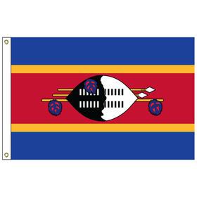 swaziland 5' x 8' outdoor nylon flag w/ heading & grommets