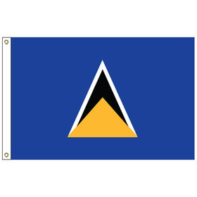 st. lucia 2' x 3' outdoor nylon flag with heading and grommets