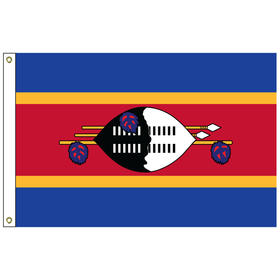 swaziland 2' x 3' outdoor nylon flag with heading and grommets