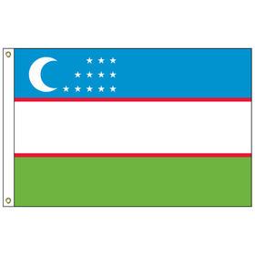 uzbekistan 2' x 3' outdoor nylon flag w/ heading & grommets
