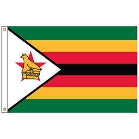 zimbabwe 2' x 3' outdoor nylon flag with heading and grommets