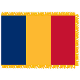 romania 3' x 5' indoor nylon flag w/ pole sleeve & fringe