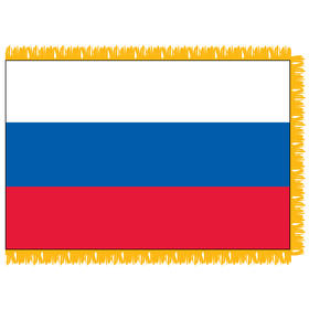russian federation 3' x 5' indoor nylon flag w/ pole sleeve & fringe