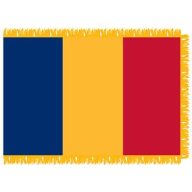romania 4' x 6' indoor nylon flag w/ pole sleeve & fringe