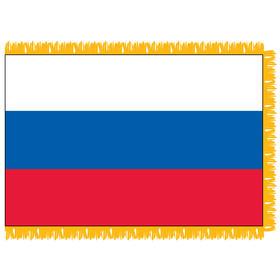 russian federation 4' x 6' indoor nylon flag w/ pole sleeve & fringe