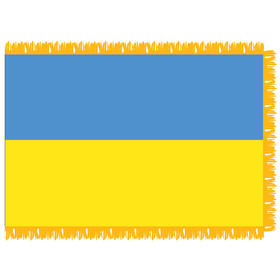 ukraine 4' x 6' indoor nylon flag w/ pole sleeve & fringe