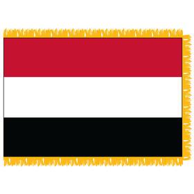yemen 4' x 6' indoor nylon flag w/ pole sleeve & fringe
