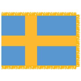 sweden 4' x 6' indoor nylon flag w/ pole sleeve & fringe