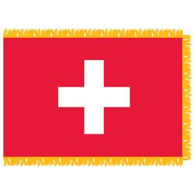 switzerland 3' x 5' indoor nylon flag w/pole sleeve & fringe