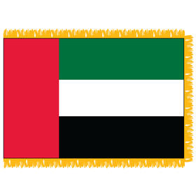 united arab emirates 3' x 5' indoor nylon flag w/ pole sleeve & fringe