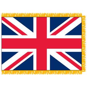 united kingdom 3' x 5' indoor nylon flag w/ pole sleeve & fringe