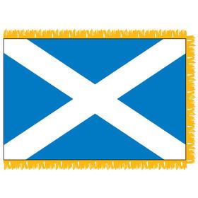 scotland with cross 3' x 5' indoor nylon flag w/ pole sleeve & fringe