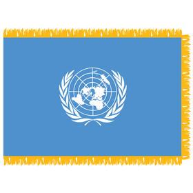 united nations 3' x 5' indoor nylon flag w/ pole sleeve & fringe