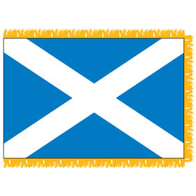 scotland with cross 4' x 6' indoor nylon flag w/ pole sleeve & fringe