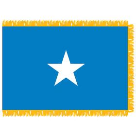 somalia 4' x 6' indoor nylon flag w/ pole sleeve & fringe