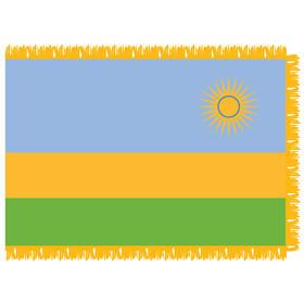 rwanda 3' x 5' indoor nylon flag w/ pole sleeve & fringe