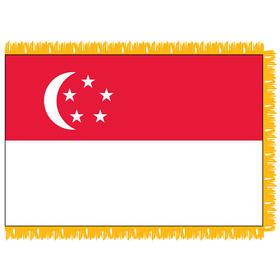 singapore 3' x 5' indoor nylon flag w/ pole sleeve & fringe