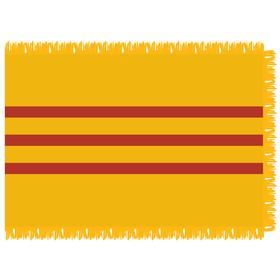 vietnam south-historical 3' x 5' indoor nylon flag w/ pole sleeve & fringe