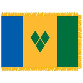 st. vincent & grenadines 3' x 5' indoor nylon flag w/ pole sleeve & fringe