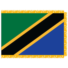 tanzania 3' x 5' indoor nylon flag w/ pole sleeve & fringe