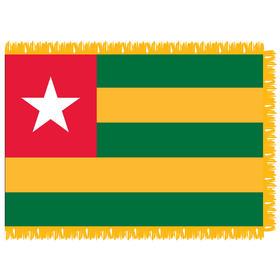 togo 3' x 5' indoor nylon flag w/ pole sleeve & fringe