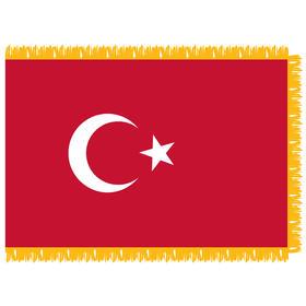 turkey 3' x 5' indoor nylon flag w/ pole sleeve & fringe