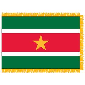 suriname 3' x 5' indoor nylon flag w/ pole sleeve & fringe