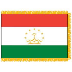 tajikistan 3' x 5' indoor nylon flag w/ pole sleeve & fringe