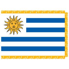 uruguay 3' x 5' indoor nylon flag w/ pole sleeve & fringe