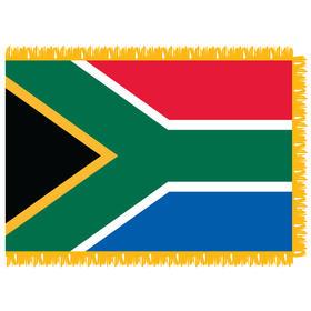 south africa 4'x 6' indoor nylon flag w/pole sleeve & fringe
