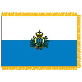 san marino with seal 3' x 5' indoor nylon flag w/ pole sleeve & fringe