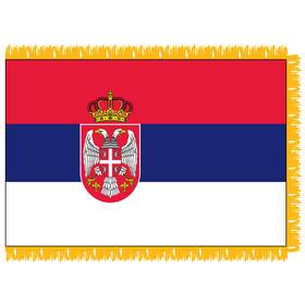 serbia w/ seal 3' x 5' indoor nylon flag w/ pole sleeve & fringe