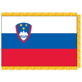 slovenia 3' x 5' indoor nylon flag w/ pole sleeve & fringe