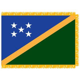 solomon islands 3' x 5' indoor flag w/ pole sleeve & fringe