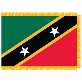 st. kitts-nevis 3' x 5' indoor nylon flag w/ pole sleeve & fringe