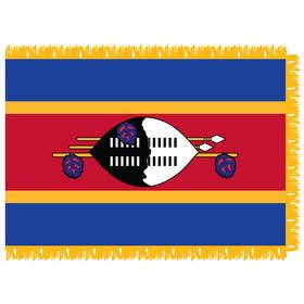 swaziland 3' x 5' indoor nylon flag w/ pole sleeve & fringe