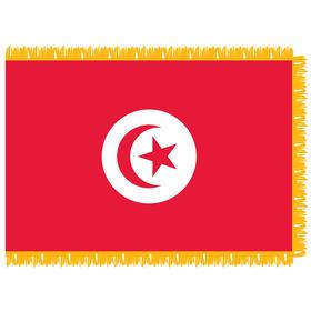tunisia 3' x 5' indoor nylon flag w/ pole sleeve & fringe