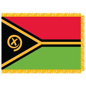 vanuatu 3' x 5' indoor nylon flag w/ pole sleeve & fringe