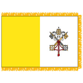 vatican city 3'x 5' indoor nylon flag w/pole sleeve & fringe