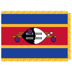 swaziland 4' x 6' indoor nylon flag w/ pole sleeve & fringe