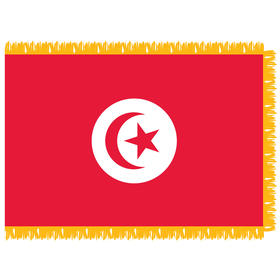 tunisia 4' x 6' indoor nylon flag w/ pole sleeve & fringe
