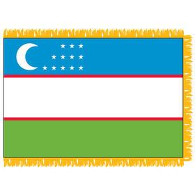uzbekistan 4' x 6' indoor nylon flag w/ pole sleeve & fringe