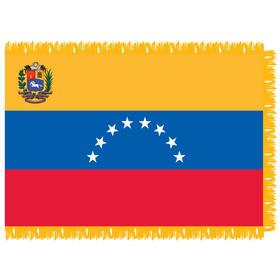 venezuela with seal 4' x 6' indoor nylon flag w/ pole sleeve & fringe