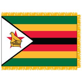zimbabwe 4' x 6' indoor nylon flag w/ pole sleeve & fringe