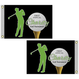 "14"" x 20"" Double Sided Golf Flag with Heading and Grommets"