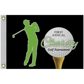 "14"" x 20"" Single Reverse Golf Flag with Heading & Grommets"